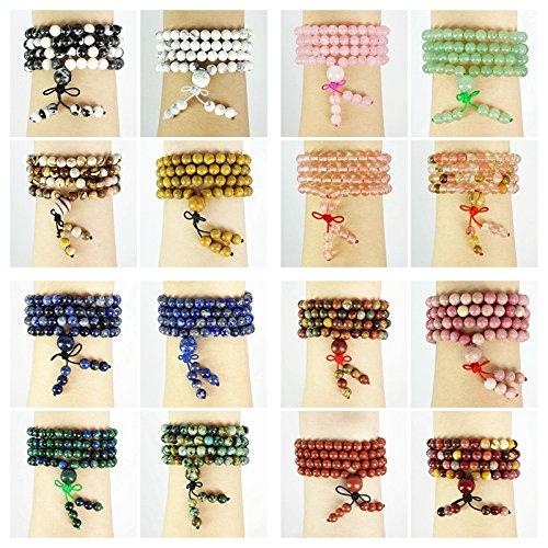 jennysun2010 Natural 6mm Gemstone Buddhist 108 Beads Prayer Mala Stretchy Bracelet Necklace Healing