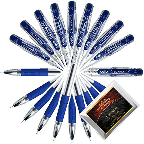 Cello Techno Tip Blue Pen Exam Series Comfortable Writing 0.6 mm Tip (10 Ball Point Pens Bundle with TeaLegacy Free Sampler) Write Long Time In School & College Low Pressure High Volume Elastic Grip