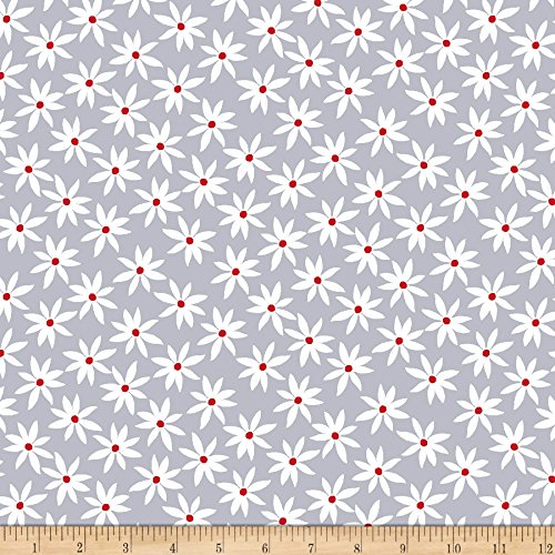 (Benartex Kanvas Cherry Twist Daisy Dot Gray/Cherry Fabric by The)