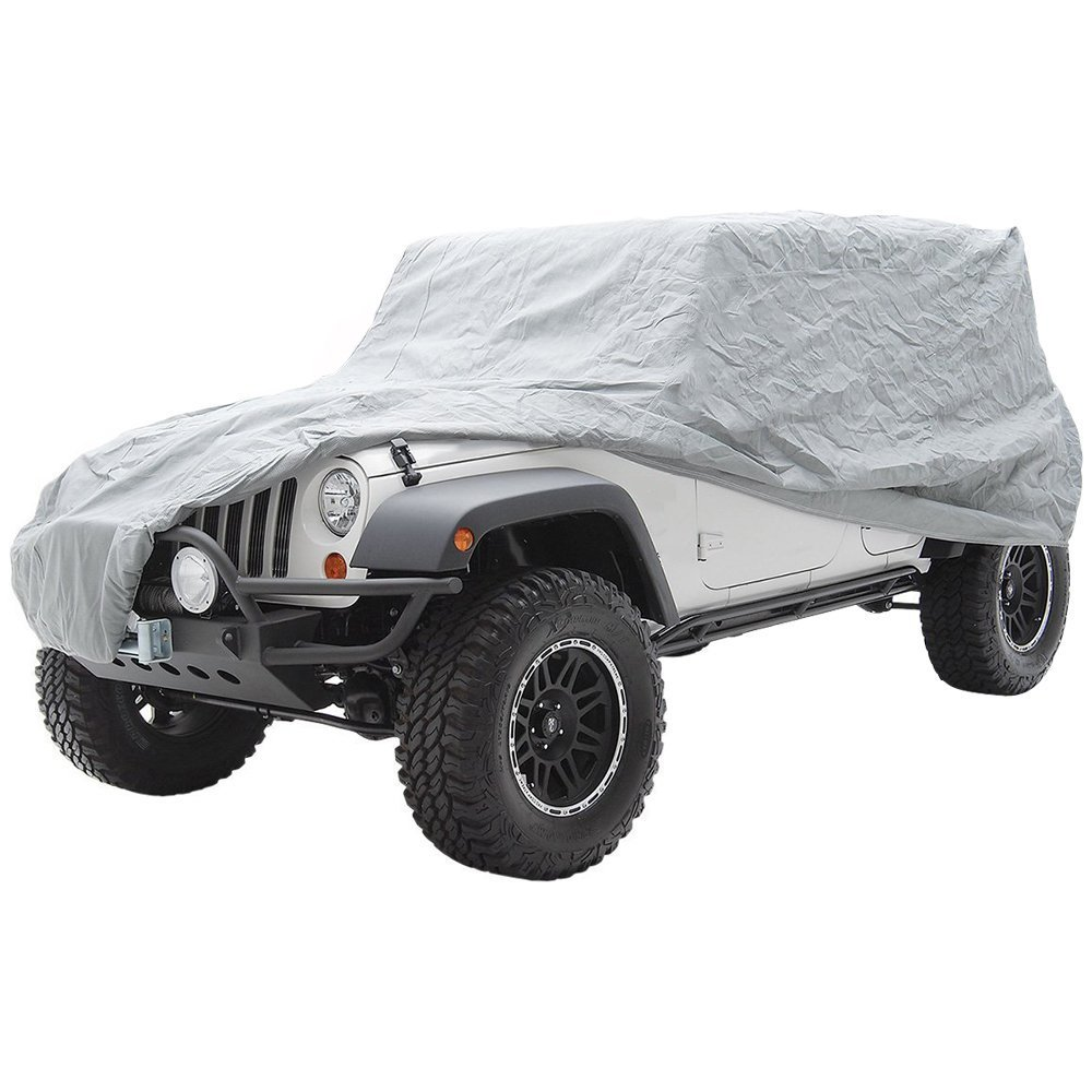 Big Ant Car Cover for Jeep Wrangler 2 Door All Weather Protection Waterproof SUV Cover Customer Fit for Jeep Wrangler up to185 L, Silver