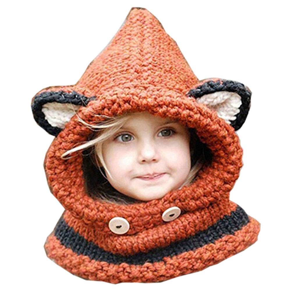 Geshiglobal Cute Fox Ears Pattern Knitted Warm Hat Fashion Baby Infant Kids Hooded Shawl Cap