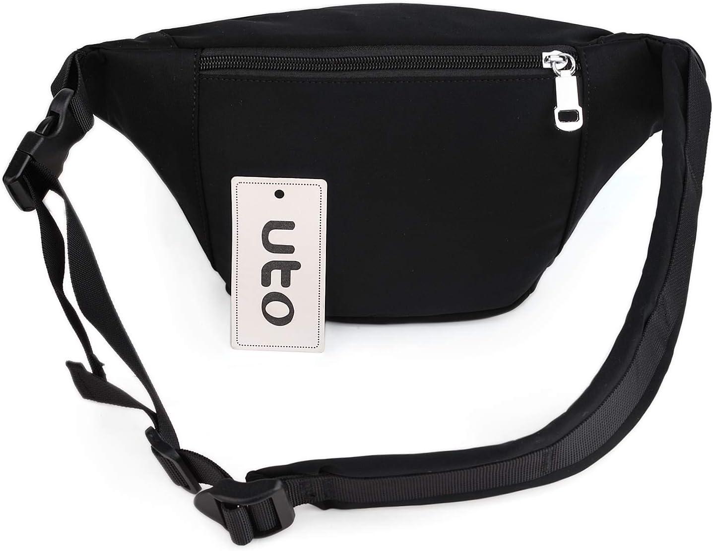 UTO Ri/ñonera Deportiva Ri/ñoneras de Moda Bolso Bandolera Bolso de la Cintura Peso Ligero para Mujer Hombre Tela Nylon Impermeable Cremalleras Viaje Cintur/ón