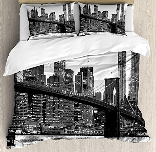 Duvet Polyester Cover Manhattan - Royalreal Queen Size 4 Piece Duvet Cover Set Modern Brooklyn Bridge Sunset with Manhattan American New York City Famous Town Image Fade Stain Shrink and Wrinkle Resistant Bedding Sets No Comforter