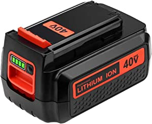 Upgraded 3000mAh 40 Volt MAX Replacement Battery for Black and Decker 40V Battery LBX2040 LBXR36 LSW36 LBXR2036 LBX2 LST540 LCS1240 LBX1540 Compatible with Black Decker 40-Volt Lithium Battery