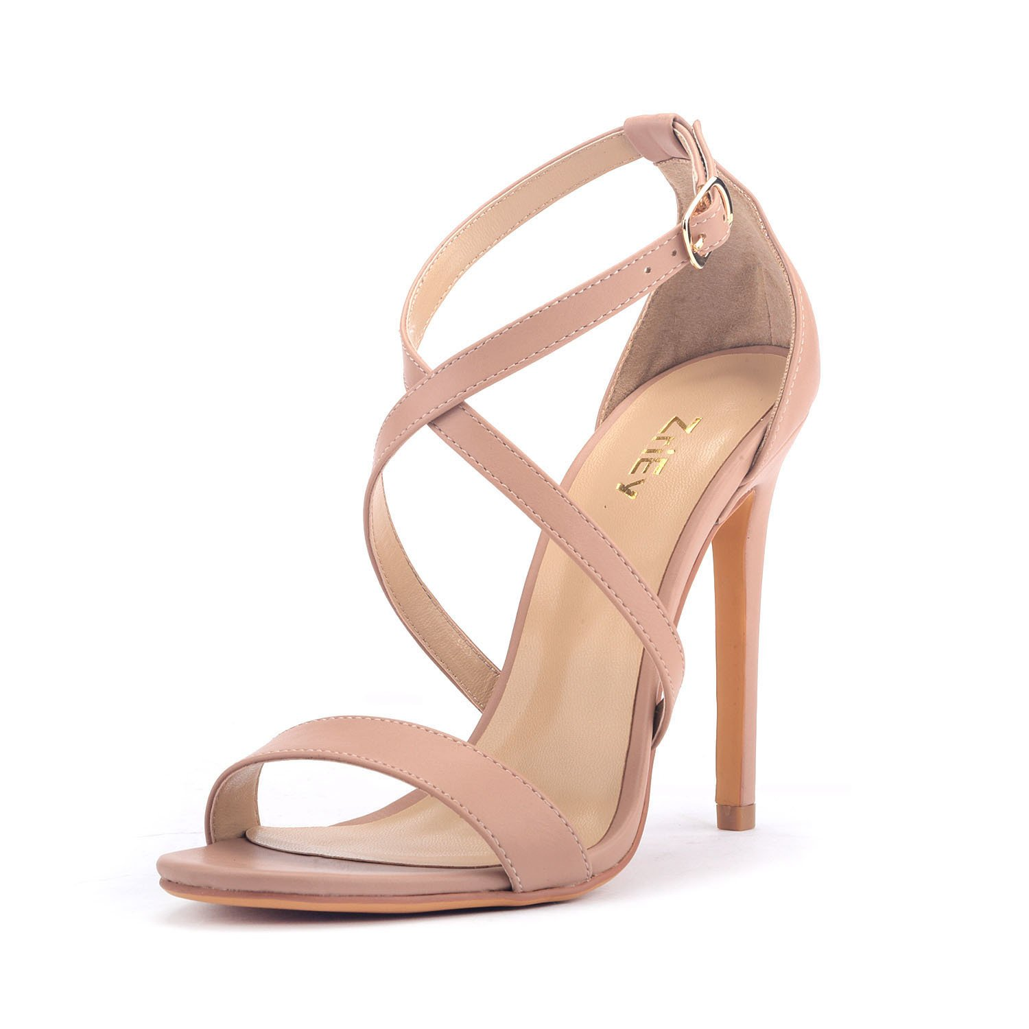 ZriEy Women Stiletto Sandals Cross Strappy High Heels 11CM Open Toe Bridal Wedding Party Shoes Nude Size 7