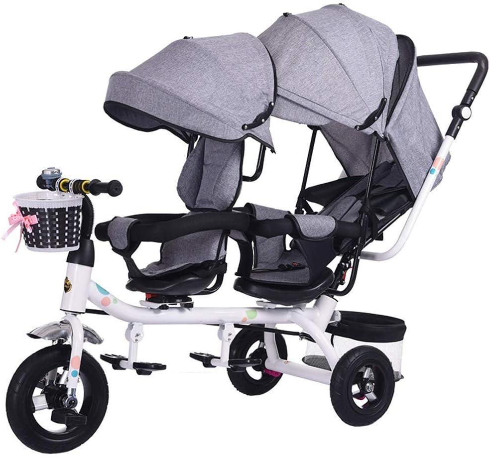 ZLMI Sillones Sillones Mellizos Triciclos Niños Dobles Bicicletas Gemelos Trolley Bebé 1-7 Años BB Coche