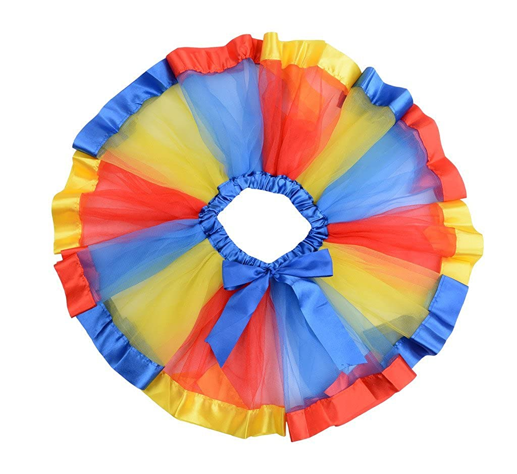 CX-Queen Girls Princess Layered Ribbon Tutu Skirt Dance colorful Party Set