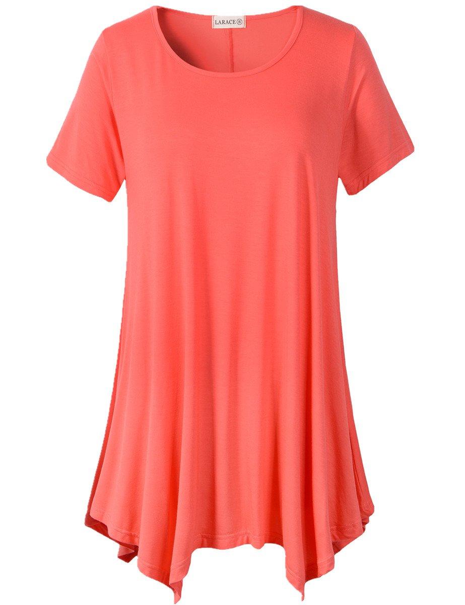 ff2946d6d8b LARACE Womens Swing Tunic Tops Loose Fit Comfy Flattering T Shirt (M ...