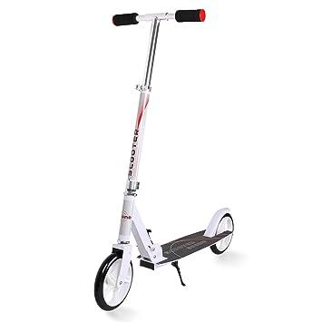 Windgoo Professional Freestyle Scooter, Safe Skateboard Patinete para niños y Adultos, Ajustable la Altura Scooter Plegable (White-F1)