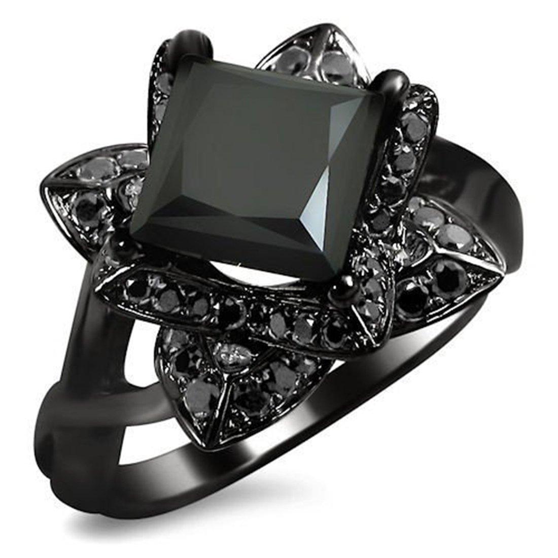 Smjewels 2.0 Ct Black Princess Cut Lotus Flower Sim.Diamond Engagement Ring 14K Black Gold Fn