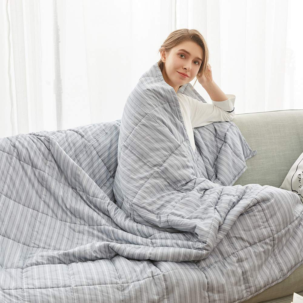 Weighted Idea Queen Weighted Blanket Adult 15 lbs   60''x80''   Cotton   for Woman and Man   Light Blue Stripe