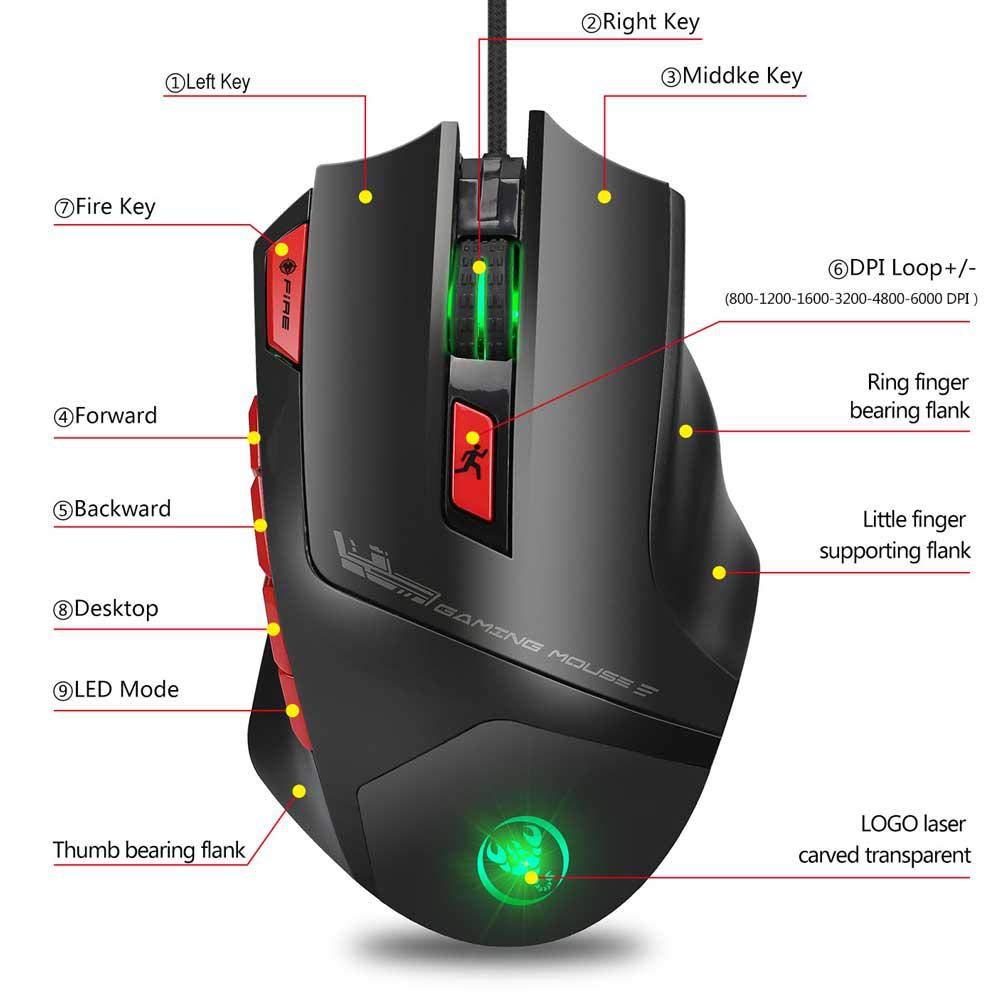 5 Lumi/ères R/églables Haute Sensibilit/é Design Ergonomique 6000 DPI Souris Gaming Pro pour PC PS4 Xbox One Ordinateur TEEPAO Souris Gamer RGB Filaire avec 9 Boutons Programmables
