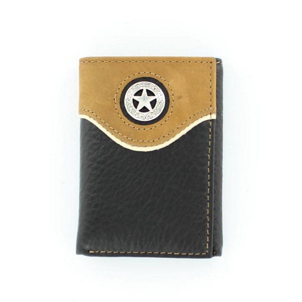 Nocona Men's Trifold Lone Star Concho Wallet, Black, OS