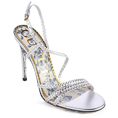 e8ed09a6746d Image Unavailable. Image not available for. Color  Gucci Women s Braided  Metallic Leather Sandal Silver