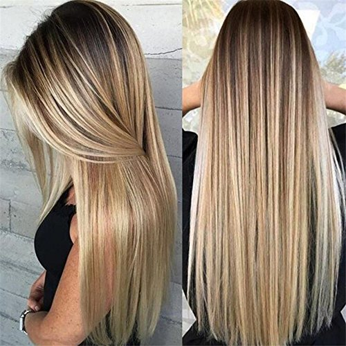 - Hair Heat Resistant Fiber Synthetic Blonde Silk Straight Synthetic Lace Front Wigs Women(26inch lace front wig) (a)