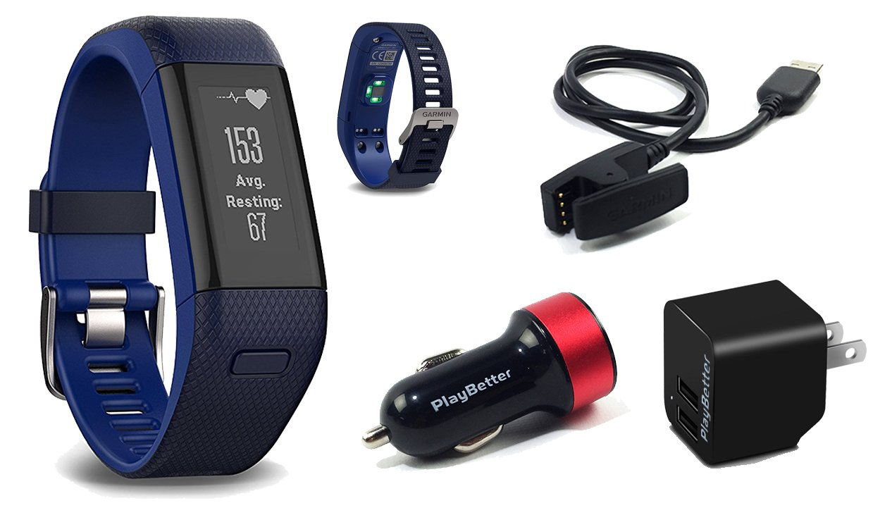Garmin vivosmart HR+ (Blue) GPS Fitness Band Bundle with PlayBetter USB Wall & Car Charging Adapters | Activity Tracker with On-Wrist Heart Rate