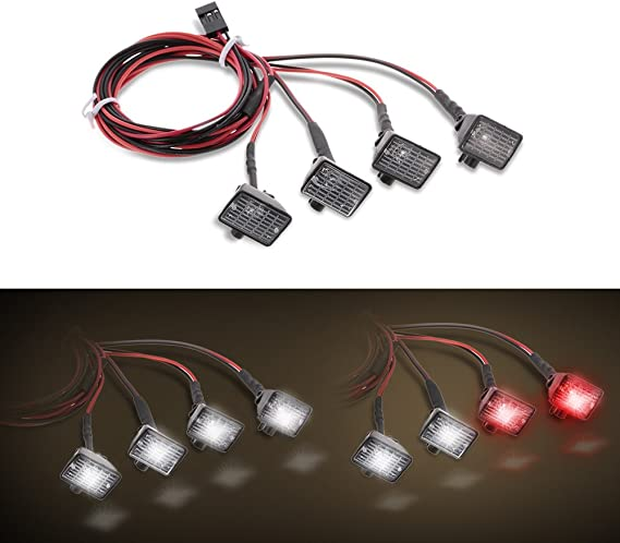 4pcs RC Car Multi-Function Round LED Light with Lampshade for 1//10 RC V4F4