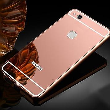 Estuyoya Huawei P10 Lite Funda Espejo, Carcasa Trasera [Marco de Aluminio] Bumper P10 Lite Lámina Trasera PC Efecto Espejo [Ultra Resistente] Anti ...