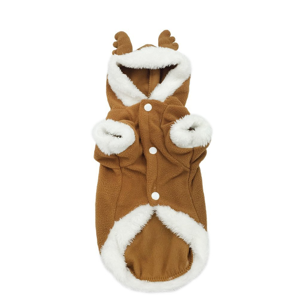 Pet Puppy Dog Christmas Reindeer Costume Two Leg Elk Hoodie Coat Warm Winter Jumpsuit Jacket Clothes Coffee S Ltd.