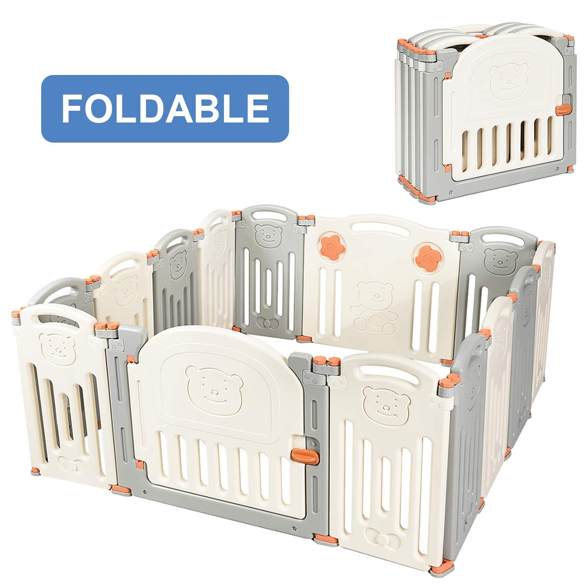 Costzon Baby Playpen, 14-Panel Foldable Kids Safety Activity Center Playard w/Locking Gate, Non-Slip Rubber Mats, Adjustable Shape, Portable Design for Indoor Outdoor Use (Beige + Gray, 14-Panel)