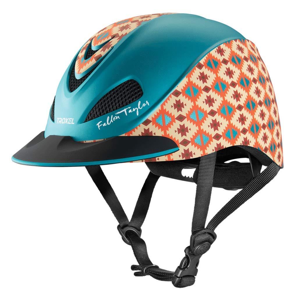 Troxel Fallon Taylor Teal Aztec Horse Riding Western Helmet Low Profile Adjustable (XS)