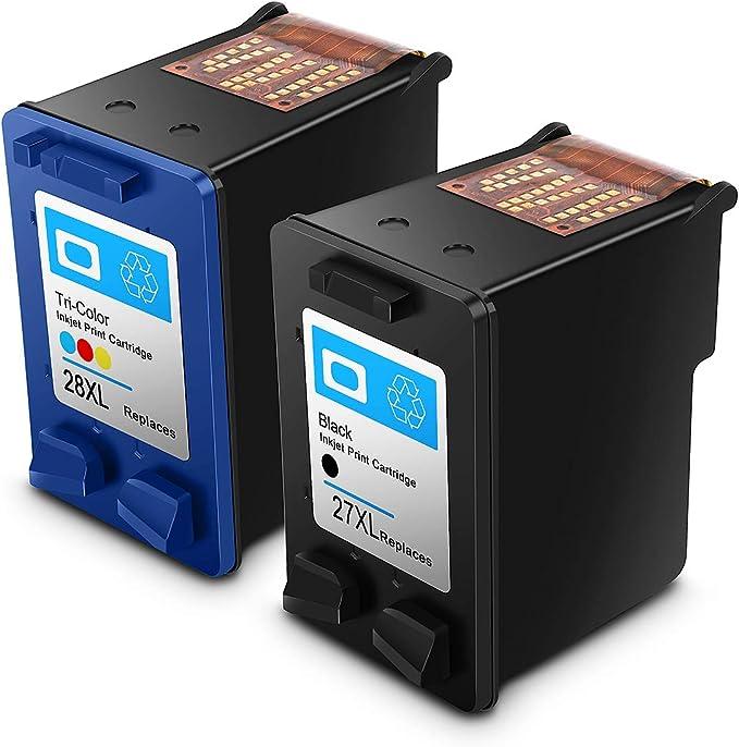 Imagen deReconstruido HP 27 28 XL HP27/28xl Cartuchos de Tinta de Alto Rendimiento Compatible con HP DeskJet, HP OfficeJet y HP Envy (1 Negro, 1 Tricolor)