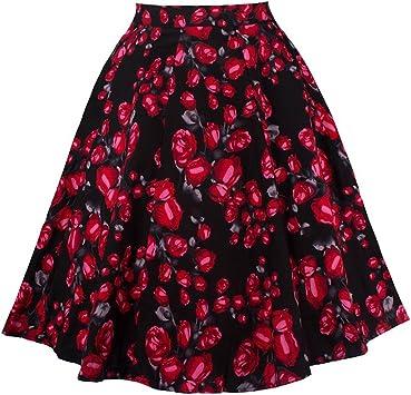 Yonglan Mujer Vintage Floral Faldas Swing Full Circle Casual Falda ...