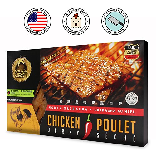 Protein Chicken Fillet - Golden Nest Chicken Jerky, Gluten Free, Healthy Homemade Style BBQ Meat From Gourmet USA Chicken, Award Winning Premium Jerky, 6 Ounces (Honey Sriracha)
