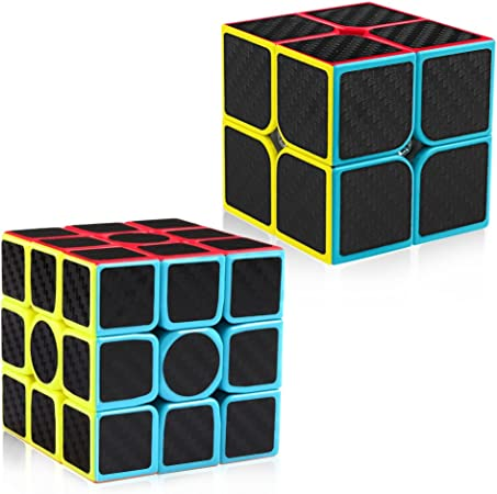 D-FantiX Carbon Fiber 2x2 3x3 Speed Cube Set, 2x2x2 3x3x3 Cube Bundle Pack Magic Cube Puzzle Toys Kids
