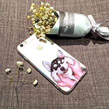 (T Cat) iPhone 6/6S Case Cover, Cute Pet Animal Cartoon Dog (Husky)Phone Case,Slim,Shock-Absorption Bumper,Anti-Scratch TPU Soft Case,with Lanyard---Husky