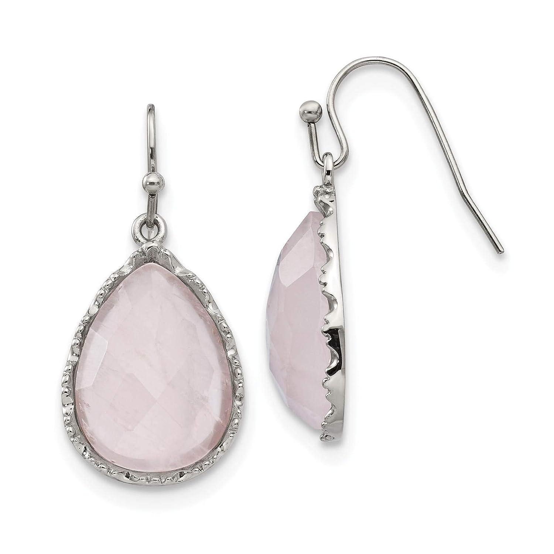 Stainless Steel Polished Rose Quartz Teardrop Dangle Earrings