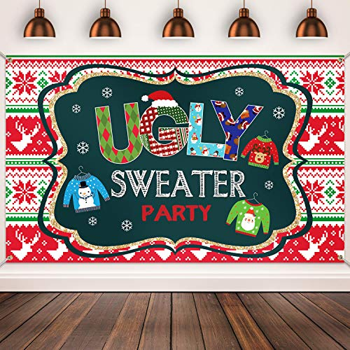 Ugly Sweater Ballot (Ugly Sweater Party Supplies Large Fabric Red and Green Ugly Xmas Sweater Party Backdrop for Ugly Sweater Christmas Party Decoration Winter Kids Elfed Photo Booth Background Banner (Dark)