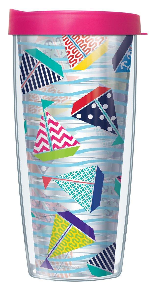 Colorful Sailboats on Clear 22 Oz Traveler Tumbler Mug with Lid
