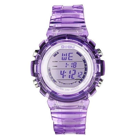 Happy Cherry - Reloj Electrónico LED Sumergible Digital Luminoso con Correa de Caucho para Niñas - púrpura: Amazon.es: Relojes