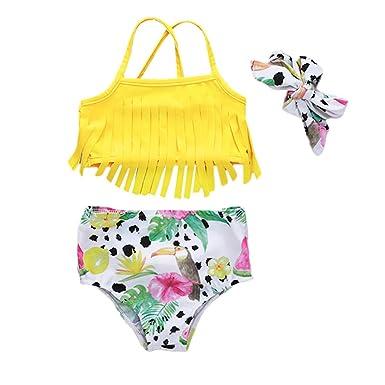 b47c0e17f2f Amazon.com: Baby Girls 3Pcs Swimwear Tassels Halter Top + Floral Bottoms +  Headband Swimsuit: Clothing