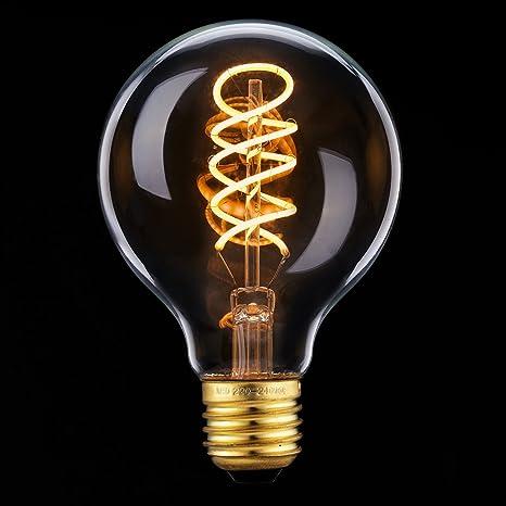 Edison Vintage Bulbs, Elfeland E27 Bombillas de Filamento LED Bombillas Vintage Helix Espiral Decorativa Sustitución 25V ...