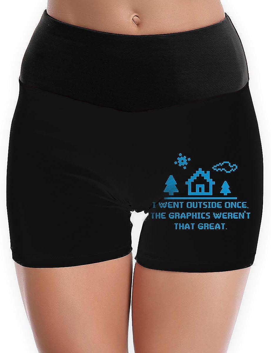 LDGT@DU Womens Yoga Shorts I Went Outside Once The Graphics Comfy Flex Yoga Shorts