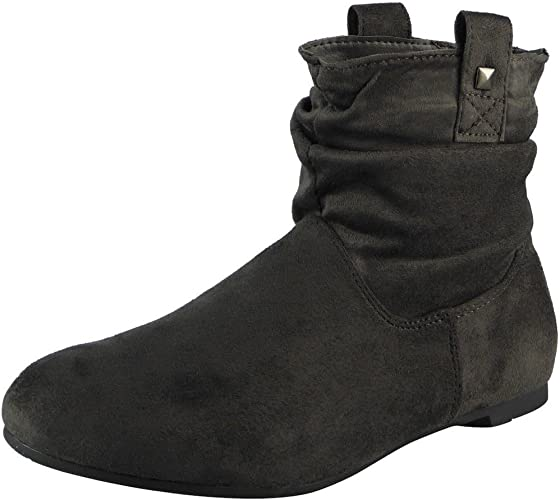 black suede slouch ankle boots