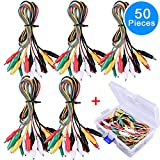 EAONE 50 Pieces 5 Colors Test Leads Set with Alligator Clips, Double-end 19.5 Inches Test Leads with Free Box