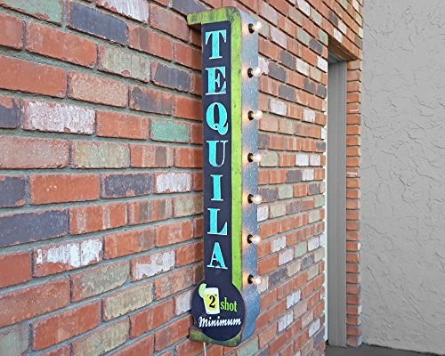 Rustic DOUBLE SIDED Metal TEQUILA Antique Vintage Style Bar Light Up Marquee Sign. (Plug-In)
