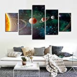 CrmArt 5 Panel Solar System, Planets, Earth Sciences by Satellite Cosmos Silk Canvas Posters, Children Bedroom Decoration Posters Science(50'' W x 28'' H, No Frame)