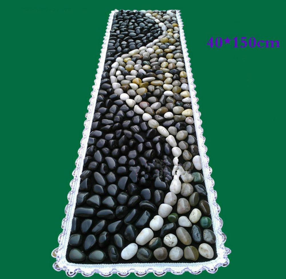 WE&ZHE Natural Pebbles Lacquered Stone Foot Massage Massage Massage Walkway Massage Go Carpet Stone Road (40 150Cm) , Black