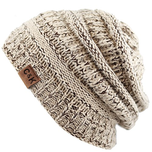 The Hat Depot Exclusive Unisex Two Tone Soft Stretch Cable Knit Beanie Skully Cap (Beige Coffee)