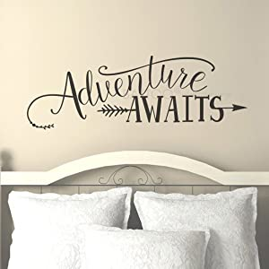 "BATTOO Adventure Awaits Wall Decal Stickers, Adventure Quotes Travel Theme Wall Decor, Wanderlust Wall Decal Arrow Wall Decal Bedroom Decor (22"" WX7.5 H, Black)"
