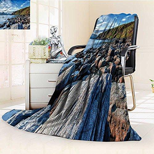 YOYI-HOME Weave Pattern Extra Duplex Printed Blanket A heap of Stones by The River Warm Microfiber All Season Custom Design Cozy Flannel Blanket/86.5