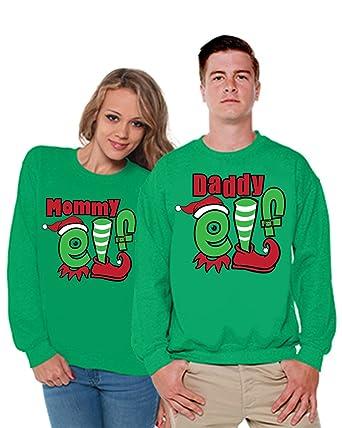 3164a022 Awkward Styles Christmas Mommy Daddy Elf Sweater Christmas Matching  Sweaters Mom Gifts Christmas Dad Gifts Green