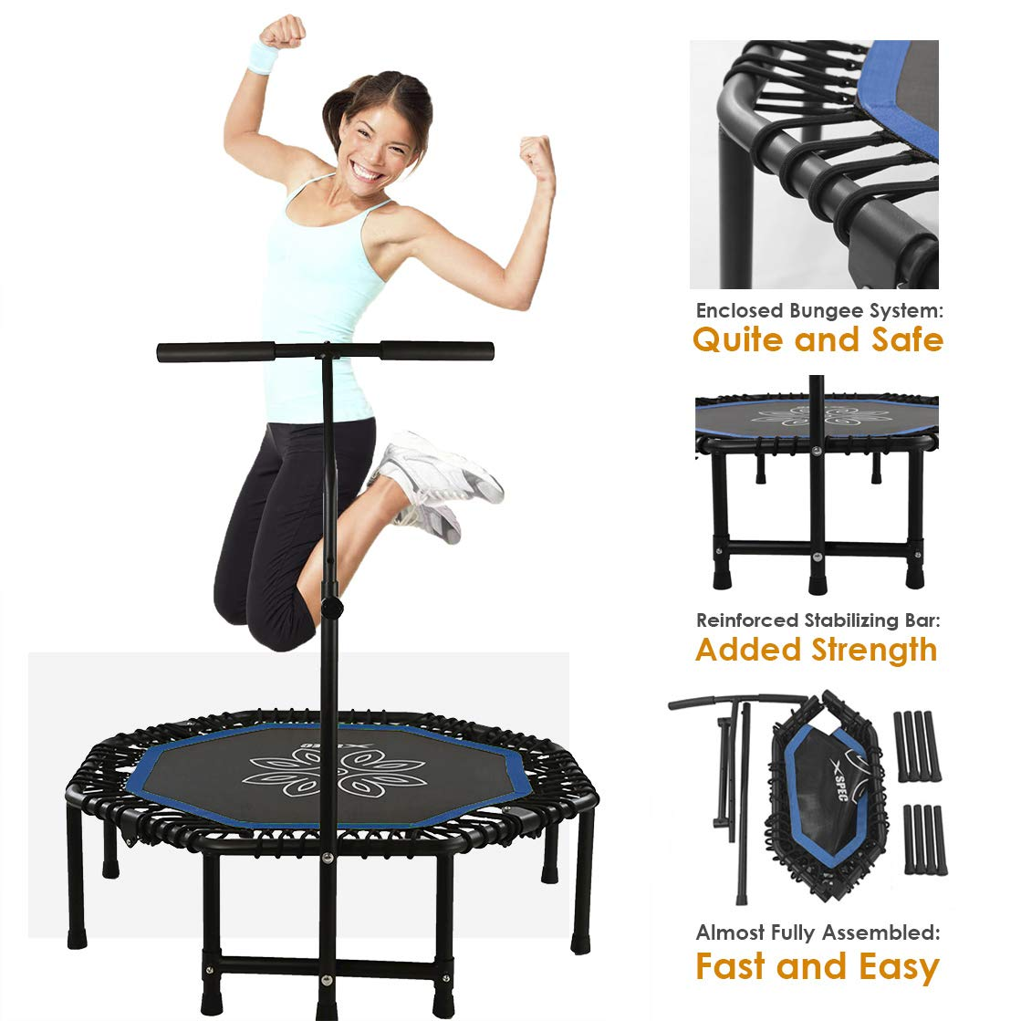 Xspec 44'' Silent Fitness Mini Trampoline with Adjustable Handrail Bar, Blue & Black - Indoor Rebounder for Adults - Best Cardio Jump Fitness Low Impact Workout Trainer, Covered Bungee Rope System