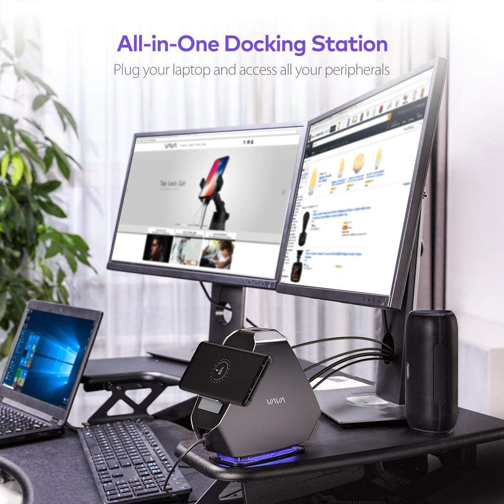 Type-C Docking Station Dual Display with 100W PD, 120W Adapter, USB Ports, Ethernet Port, Typc C Port, SD Card Slot, Audio Jack for Windows, USB-C Laptop by VAVAInventory (Image #3)