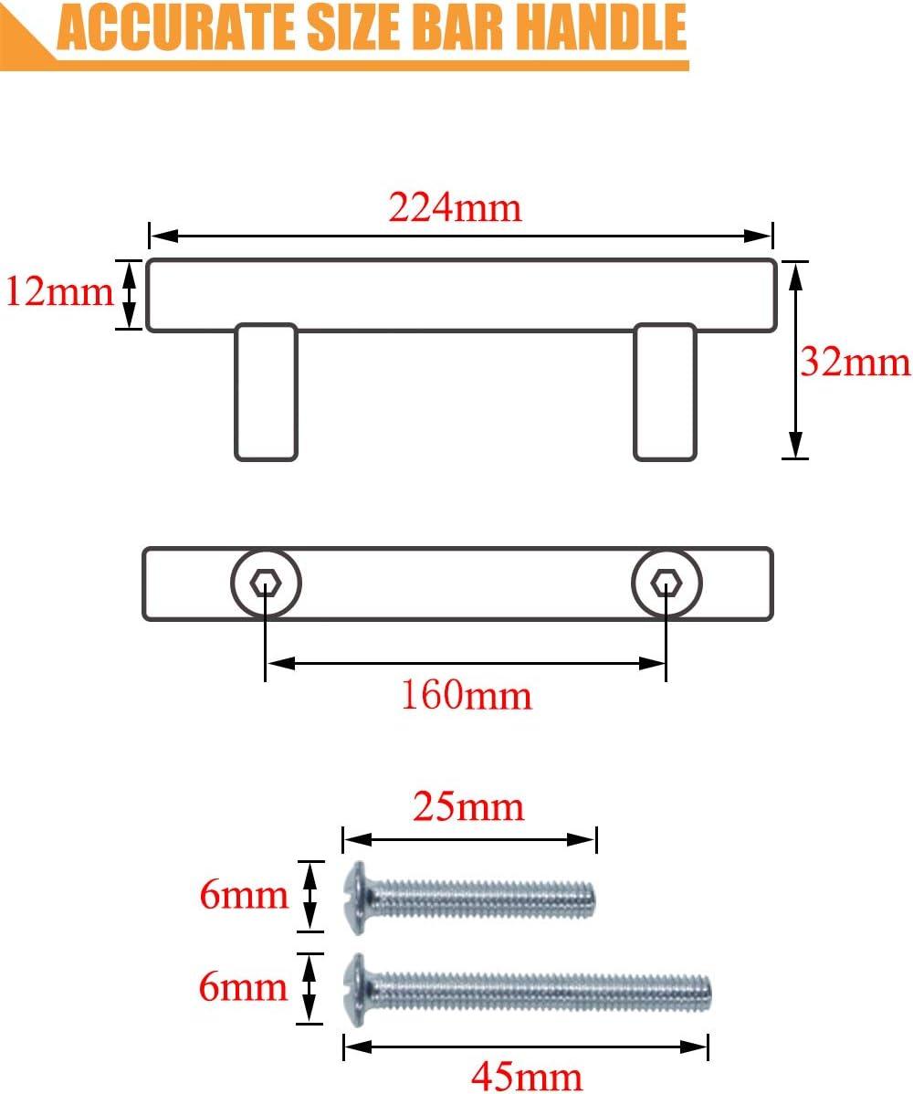 PinLin 10 St/ück Griffe K/üche Lochabstand 128mm M/öbelgriffe Edelstahl Geb/ürstetes Nickel K/üchenschrank Stangengriffe Schrauben enthalten