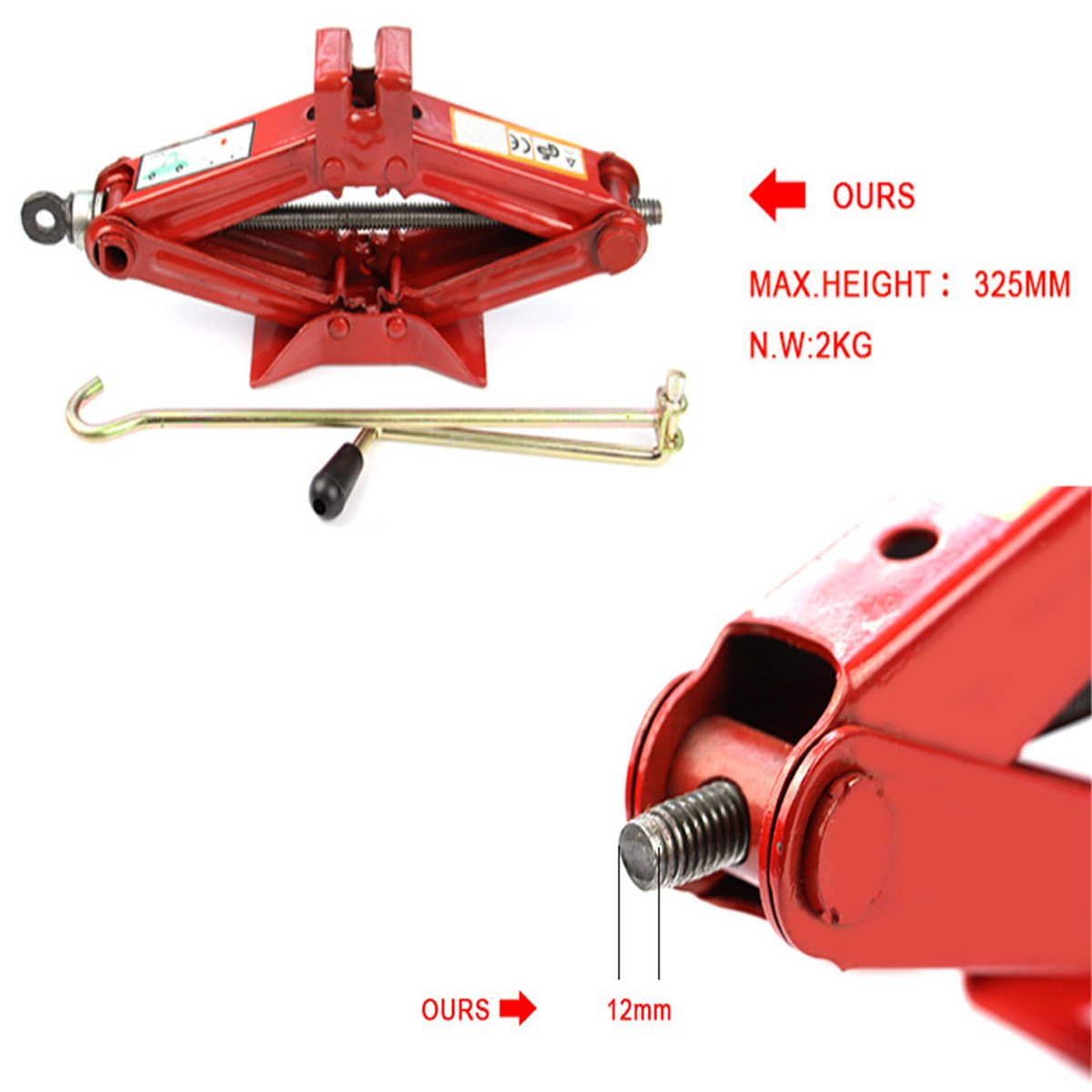 Okeler 1 Ton Scissor Jack for RV Car Motorcycle Lifting Home Emergency, Red by Okeler (Image #4)